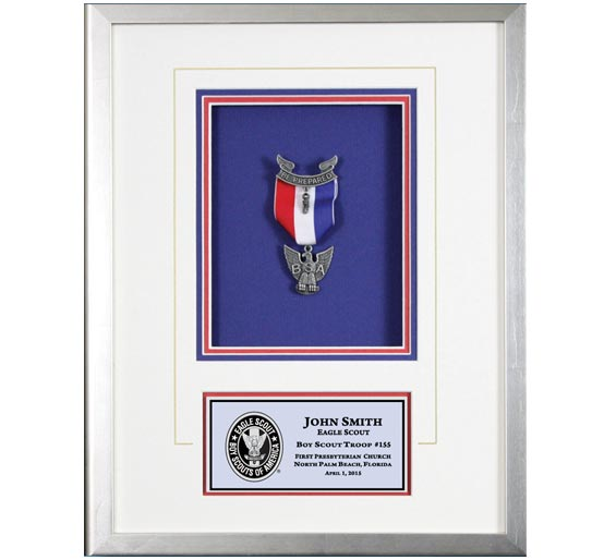 Eagle Scout shadow box silver frame