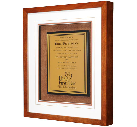 Gold Plate in Wood Frame