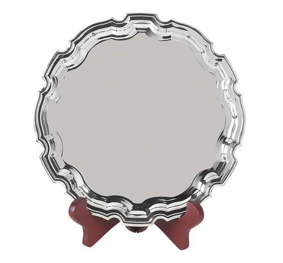 Nickel Plated Ribbon Award Tray with Stand
