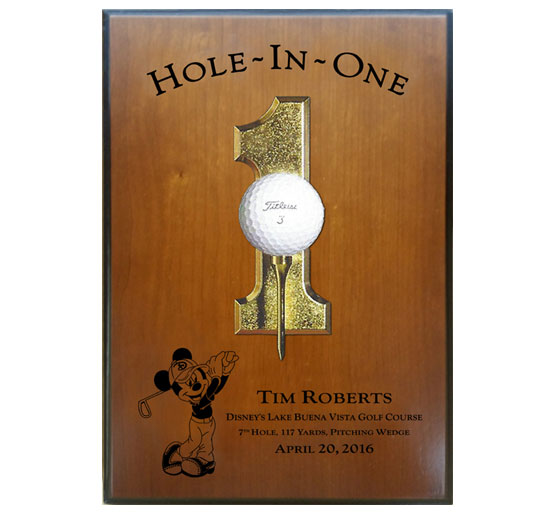 Wood Engraved Hole-In-One Plaque